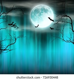 Spooky Halloween background with old trees silhouettes and flying bats.