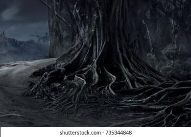 Spooky Halloween dead mysterious forest big tree landscape with foggy background at the night