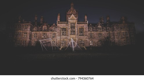 Spooky night picture of a mental hospital