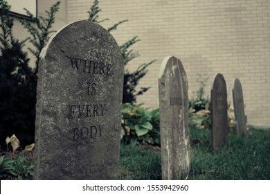 Spooky outdoor Halloween tombstone decorations