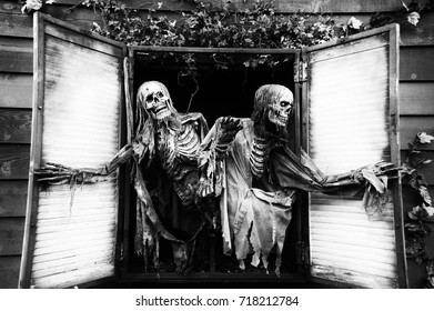 Spooky skeletons at a haunted house