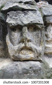 Spooky Stone Head - rock sculpture in the forest from 1840 by sculptor Vaclav Levy