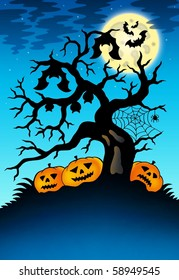 Spooky tree with bats and pumpkins - color illustration.