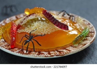 Spooky Worm and Spider Nests with Orange Jello and Tapioca