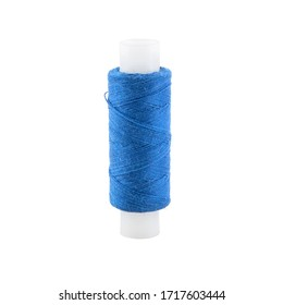 Spool of blue thread isolated on white background