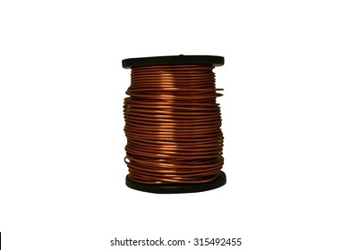 Spool with copper wire on a white background