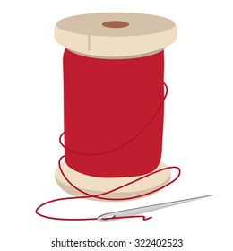 Spool of red thread and needle for sewing raster illustration. Needle and thread.