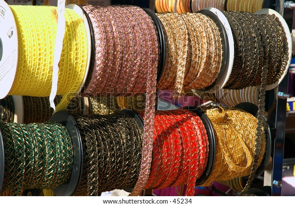 Spools of brocade and trim in the Los Angeles Fashion District