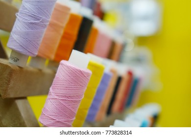 Spools of colored thread.