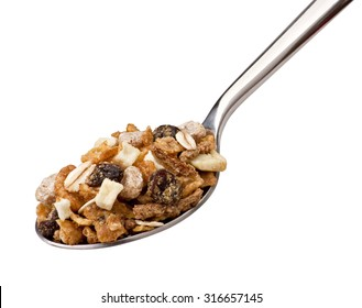 Spoon with breakfast cereal