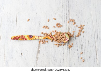 spoon with einkorn grains