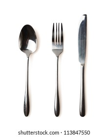 Spoon, fork and knife isolated over white background