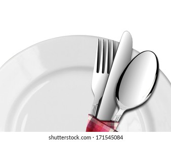 Spoon and Fork with Knife on a Plate