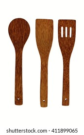 Spoon and fork made of coconut wood