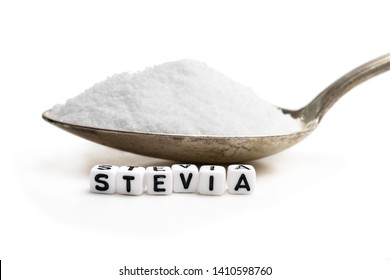 Spoon  full of sugar substitute stevia. No sugar concept