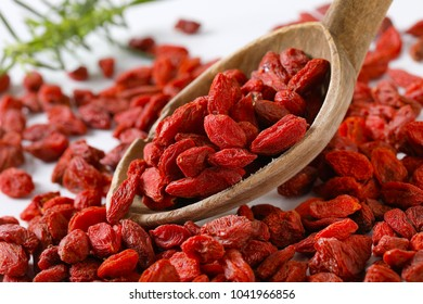 spoon of healthy goji berries - detail