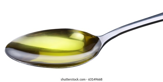 Spoon with olive isolated on a white.