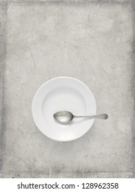 spoon, plate, old, ancient-looking, metal, grunge, gray