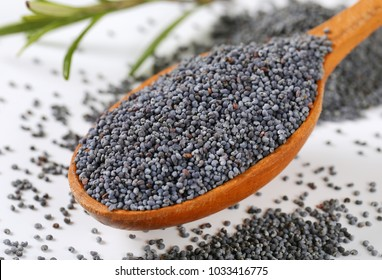 spoon of whole blue poppy seeds