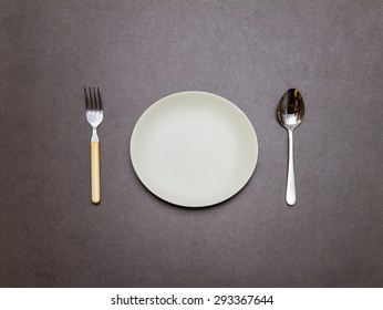 Spoon,dish,fork of equiment for eat on background,