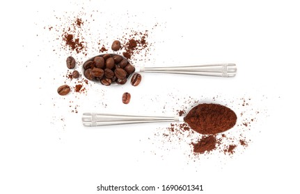 Spoons with coffee beans and coffee powder isolated on white background.