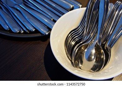 spoons and knives background