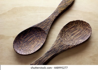 Spoons on Wooden Background