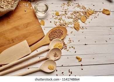 spoons wooden utensils cereals flakes oatmeal