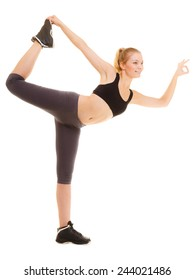 Sport and active lifestyle. Full lengh fitness sporty girl stretching showing ok okay hand sign gesture isolated on white