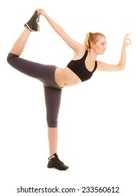 Sport and active lifestyle. Full length fitness sporty girl stretching showing ok okay hand sign gesture isolated on white