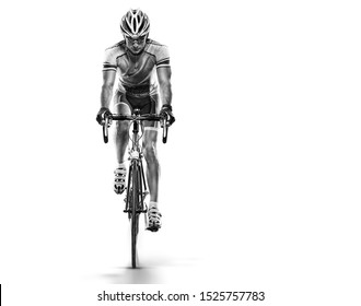 Sport. Athlete cyclists in silhouettes on white background