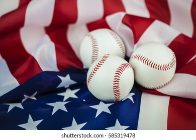 Sport Background with baseball and USA Flag