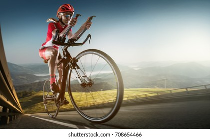 Sport background. Road cyclist.