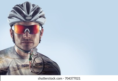 Sport backgrounds. Heroic Cyclist portrait. Mixed media.