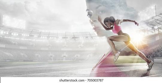 Sport backgrounds. Heroic Runner portrait. Mixed media.