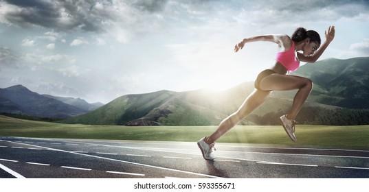 Sport backgrounds. Runner. Dramatic scene.