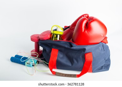 Sport bag for packing your exercise item with white background.