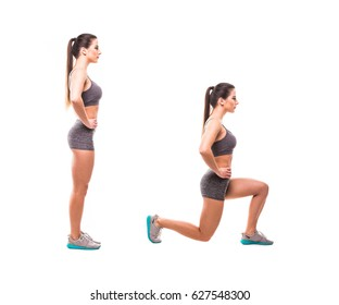 Sport beauty woman do fitness exercises on white background. Woman demonstrate begin and end of exercises.