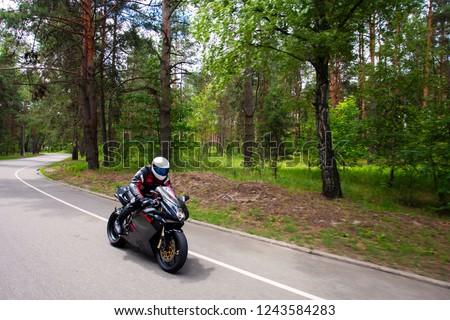 Sport Biker Racing on