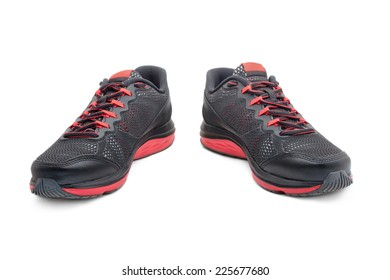 Sport black sneakers for running isolated on white background