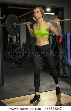 107c0ca62f896 Sport Blondie Girl Doing Squat Iron Stock Photo (Edit Now ...