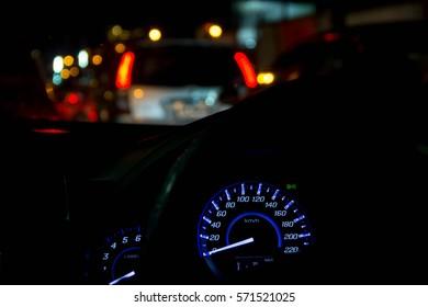 Sport Car Dashboard. Car Driving. Vehicle