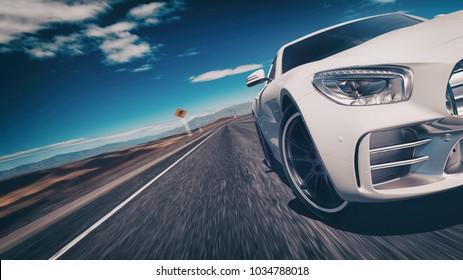 sport car scene. 3d rendering and illustration.