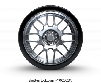 Sport car wheel. A single car tire or tyre. On a white background. 3d render illustration high resolution
