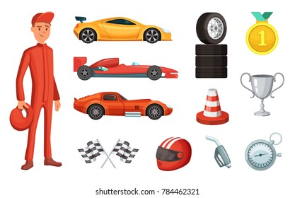 Sport Cars And Different Racing Icons Set Engine Helmet Motor Other Formula