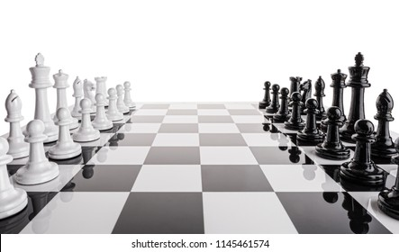 Sport. A chess game. Black and white figures on a black and white chessboard.