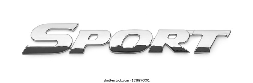 Sport Chrome Car Badge Isolated on a White Background.