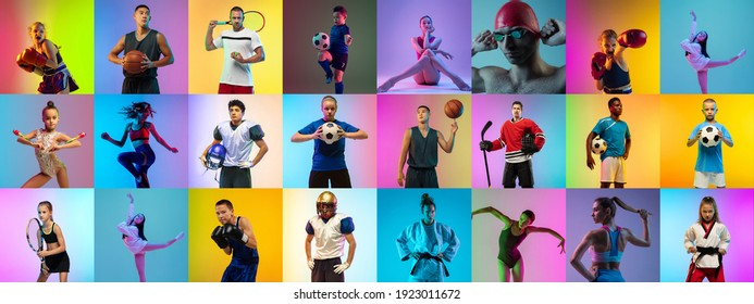 Sport collage of 20 professional athletes on gradient multicolored neoned background. Concept of motion, action, active lifestyle, wellness. Football, soccer, basketball, tennis, box. Made of models.