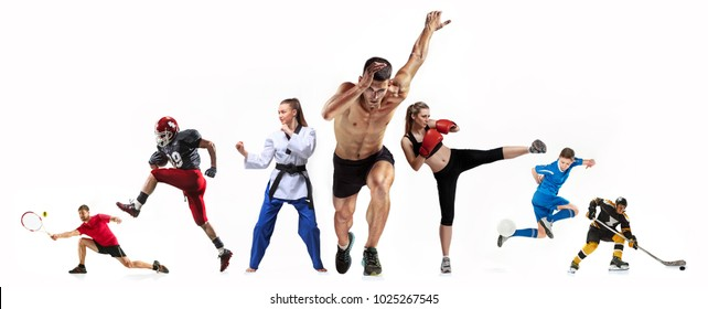 Sport collage about boxing, soccer, american football, ice hockey, jogging, taekwondo, tennis. The fit men and women. Caucasian active athletes isolated on white background