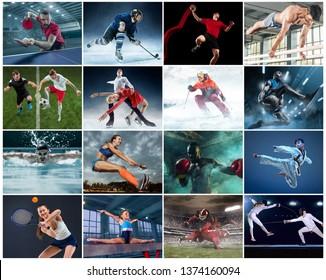 Sport collage about table tennis, gymnastics, boxing, handball, soccer and american football, taekwondo, figure skating, ski slalom, basketball, swimming, long jump, fencing concept. Fit athletes or